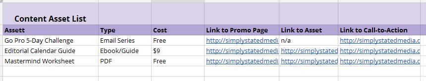 Website Content Library Asset List