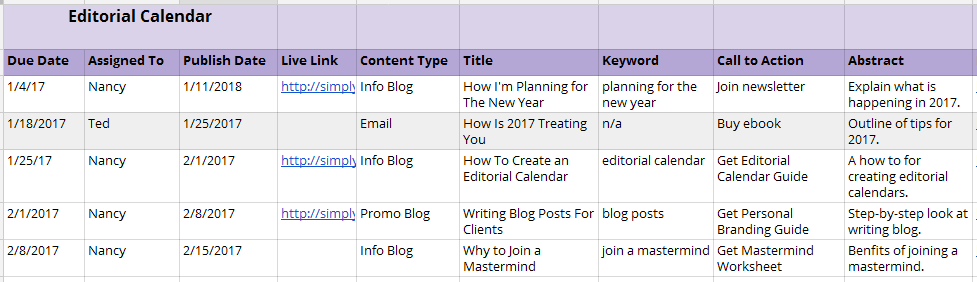 Website Content Library Editorial Calendar